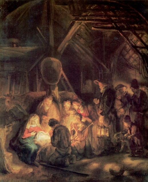 Adoration of The Shepherds by Pupil of Rembrant 1646