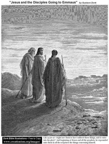 Jesus and The Disciples Going To Emmaus by Gustave Dore