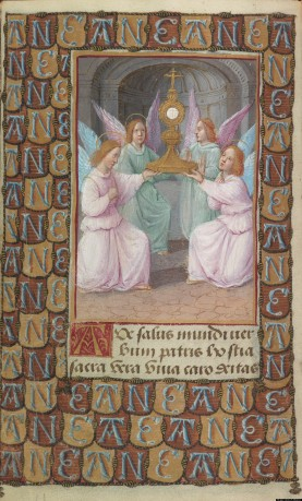 "Angels Displaying the Eucharist in a Monstrance, from the ""Prayer Book of Anne de Bretagne,"" in Latin and French France, Tours, ca. 1494 Illuminated for Anne de Bretagne, queen of France, and her son Charles-Orland by Jean Poyer The Morgan Library & Museum, New York; MS M.50, fol. 11v"