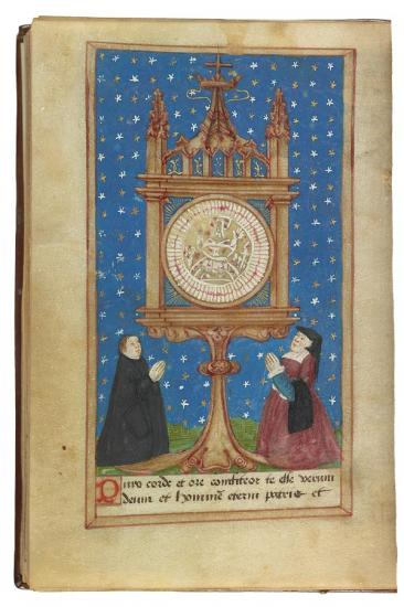 The Sacred Bleeding Host of Dijon Adored by a Couple, from the Heures à l'usaige de Romme Printed in France, Paris (Jean Poitevin), 1501 Illuminations added in Dijon, 1540s (Source)