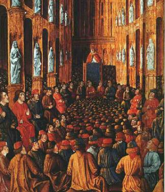 Pope Urban II at the Council of Clermont (1095), where he preached the First Crusade; later manuscript illumination of c. 1490