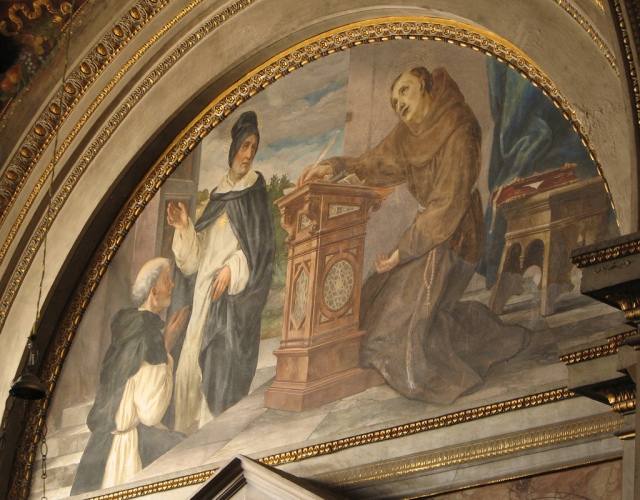 St. Thomas and St. Bonaventure. In this fresco from a side chapel in the church of Santa Maria in Aracoeli in Rome, St. Bonaventure is shown writing and discoursing with his contemporary, the great Dominican scholastic and Doctor, St Thomas Aquinas. Photo by Fr. Lawrence Lew, O.P.